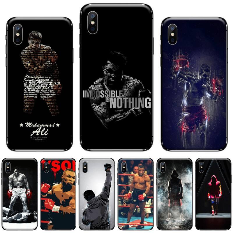 Americano Muhammad Ali boxeo boxeador negro, cubierta suave de TPU Teléfono para iphone 5 5s 5c se 6 6s 7 8 plus x xs x xr 11 pro max