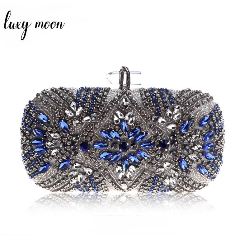 المرأة مخلب الطرف الفاخرة الأزرق مساء حقيبة الزفاف محفظة كريستال سلسلة حقيبة كتف عالية الجودة حجر الراين الإناث مخلب