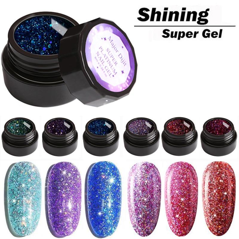 UV Gel Nail Polish Super Shining Glitter Sequins Nail Gel Polish Fashion 10Colors 8ml Varnish Soak Off UV Led Nail Art Laquer