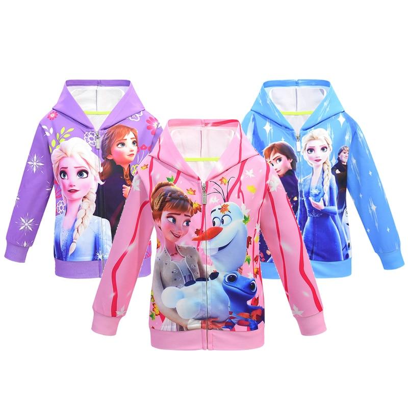 Disfraz de Cosplay Snow Ice 2, chaquetas de primavera y otoño para niñas, chamarra Casual con bonitos dibujos animados para Niños con capucha, abrigo con cremallera para niñas, ropa para niños