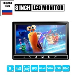 4:3 8 inch TFT LCD Color Video CCTV Mini Monitor HDMI/VGA/BNC/AV Input for Security System Tester Stand Rotating Screen