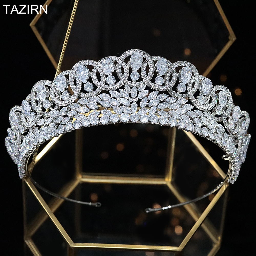 Elegant 5A+ Cubic Zirconia Wedding Bridal Tiaras and Crowns Zircon Pageant Queen Headpieces CZ Party Hair Jewelry Accessories