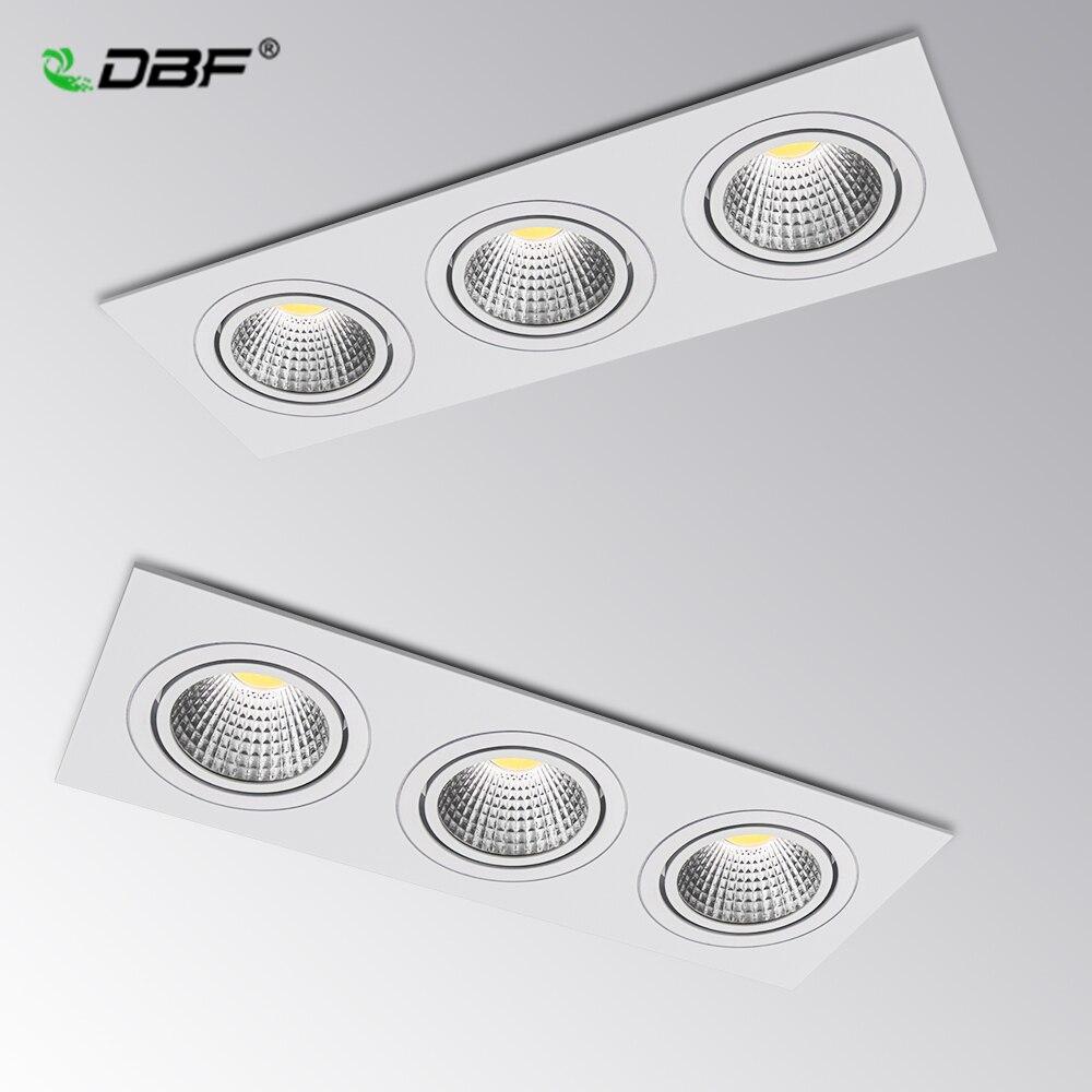 [DBF] regulable 3 cabezas Plaza foco empotrado COB 15W 21W 30W 36W LED lámpara de techo AC110V/220V llevó la luz del punto con conductor