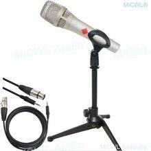KMS105 profesjonalny mikrofon pojemnościowy 48V Phantom Power metalowy ręczny z kablem XLR do 3.5mm wsparcie Karaoke śpiewać czat Mic