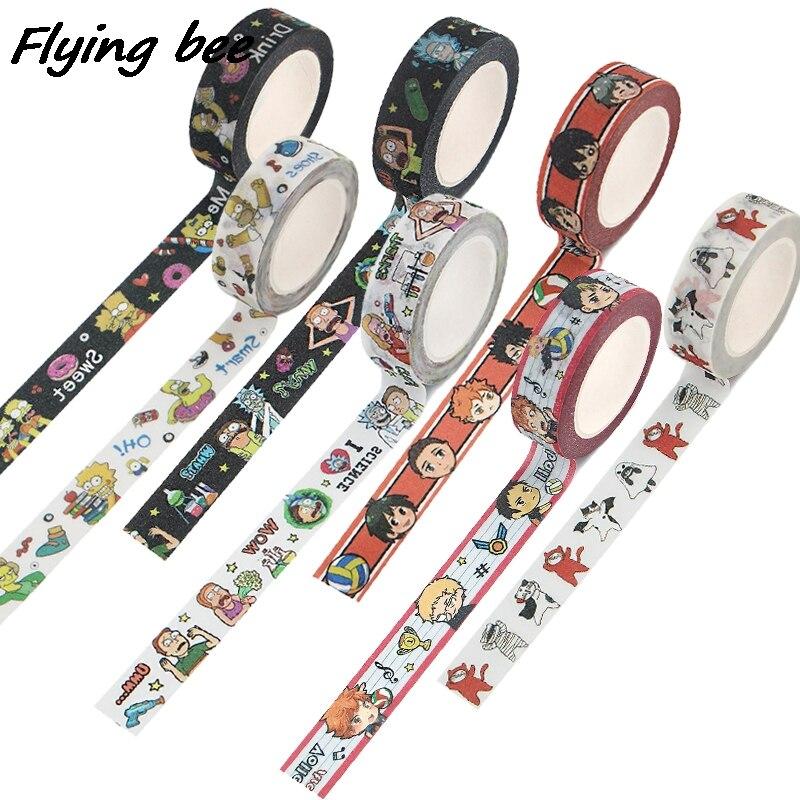Flyingbee 15 мм x 5 м аниме-волейбол мальчик мультфильм Кот пончики матовая лента для поверхности бумага Стикеры канцелярские ленты для студентов ...