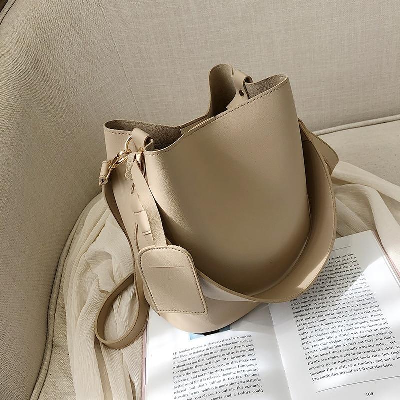حقيبة كتف بحزام عريض للنساء ، حقيبة pu فاخرة ، سعة كبيرة ، بسيطة