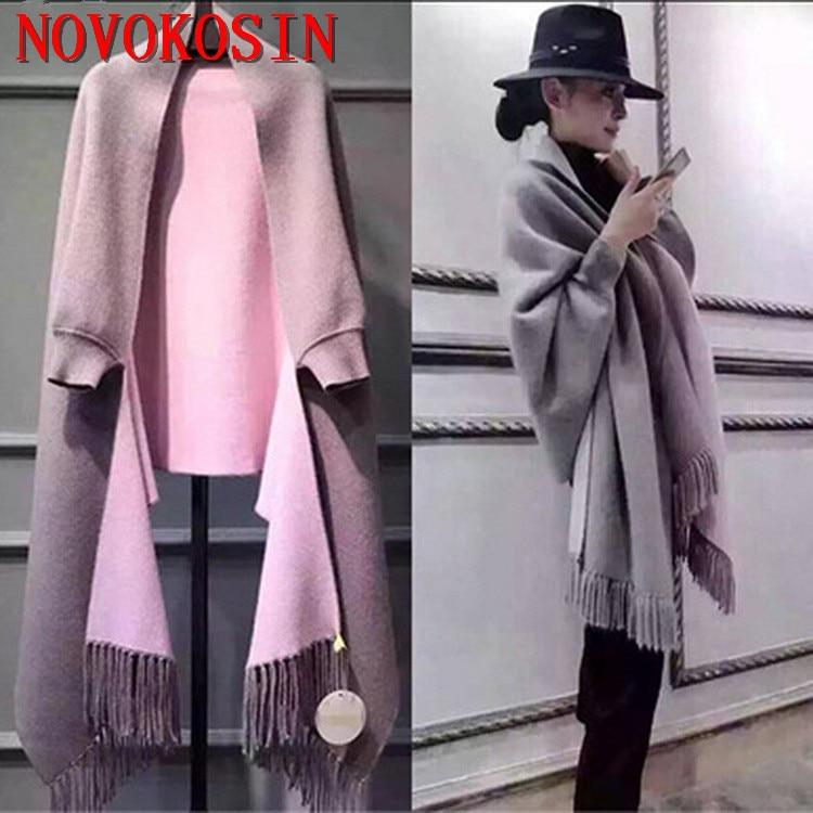 Шарф SC2 2018 оверсайз, зимнее Трикотажное пончо, Женский однотонный дизайнерский плащ, женское длинное пальто с рукавами «летучая мышь», винтажная шаль