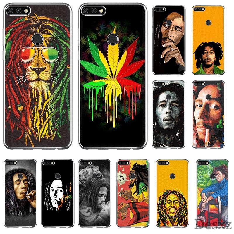 Caso do telefone móvel para huawei p smart z plus p30 p20 p10 p9 p8 lite pro capa dura bob marleys leão rasta reggae diy concha