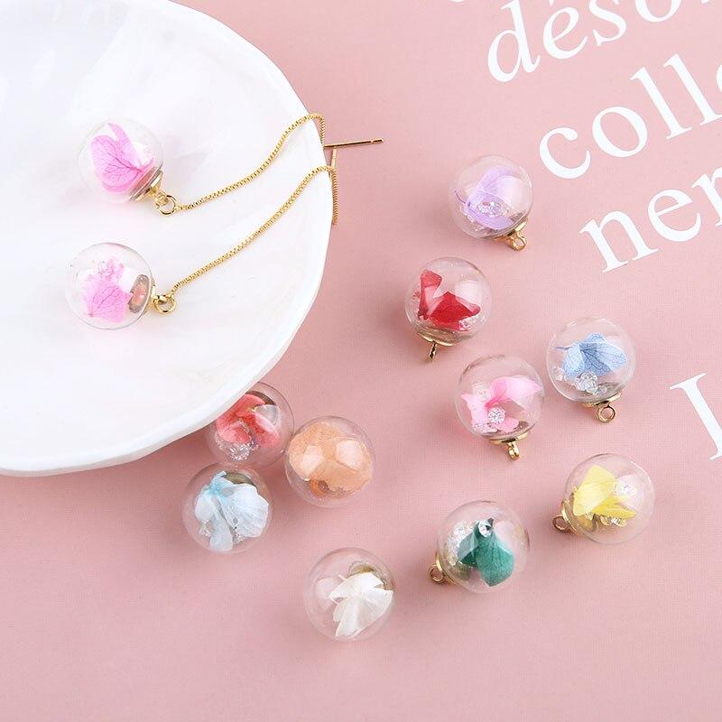 10pcs Korean elegant Women Earrings transparent glass ball inlaid dried flower ball pendant hair accessories Jewelry Findings