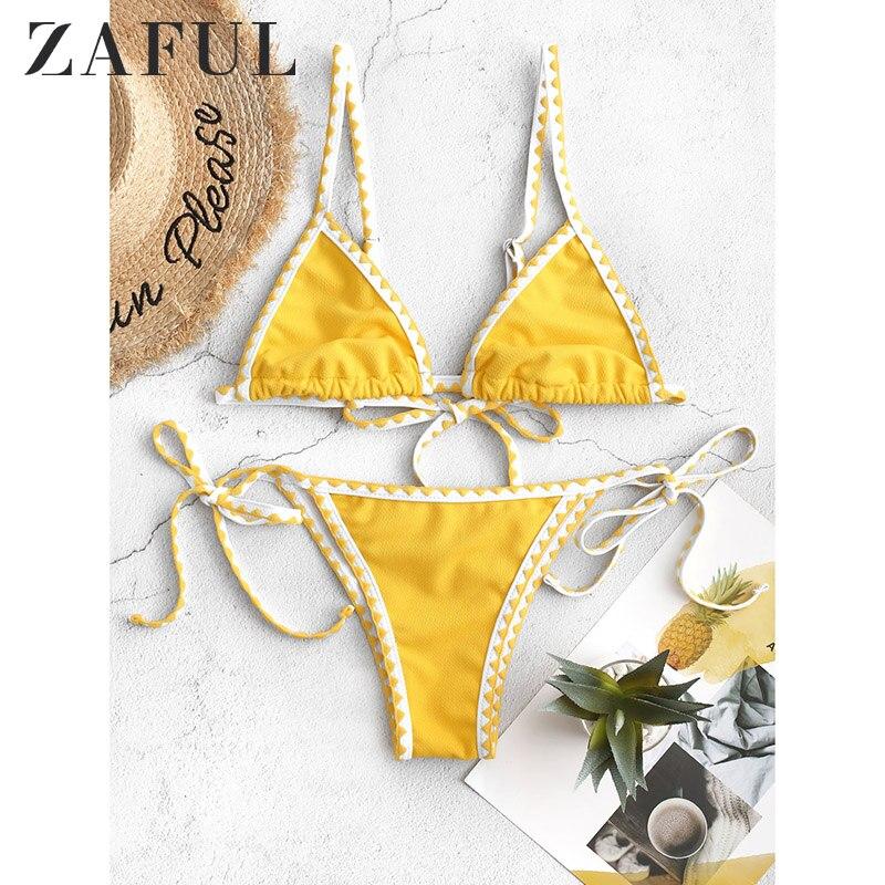 ZAFUL Women Low Waisted Spaghetti Straps String Two Pieces Swimsuit FOR Textured Whip Stitch Bralette Bikini Swimwear