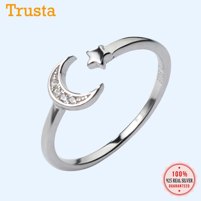 Trustdavis 2020 Trend 100% 925 Sterling Silver Ring Fashion Moon Star CZ Opening For Women Wedding Party 925 Ring Jewelry DA125
