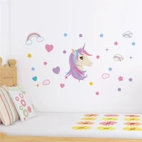 cartoon unicorn wall stickers for girls room kids bedroom home decoration diy animals wall mural art decals pvc posters