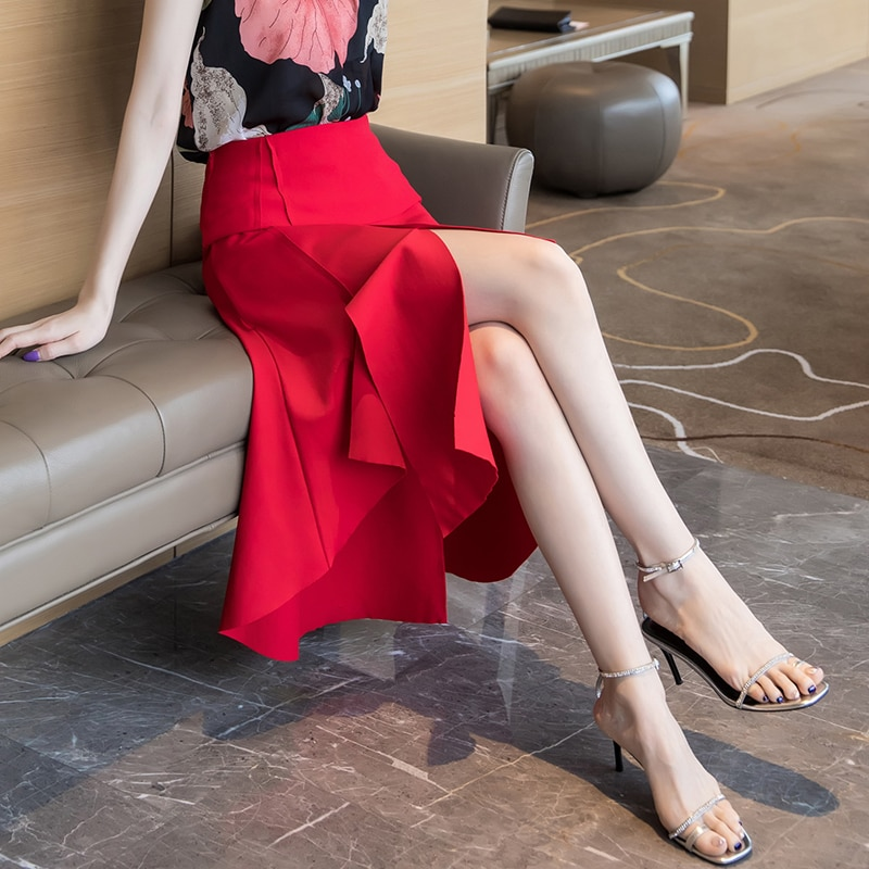 VICONE-تنورة عالية الخصر على شكل أرجوحة ، ملابس ذات نوعية جيدة ، خصر مرتفع ، جديد ، ساحات كبيرة من المال