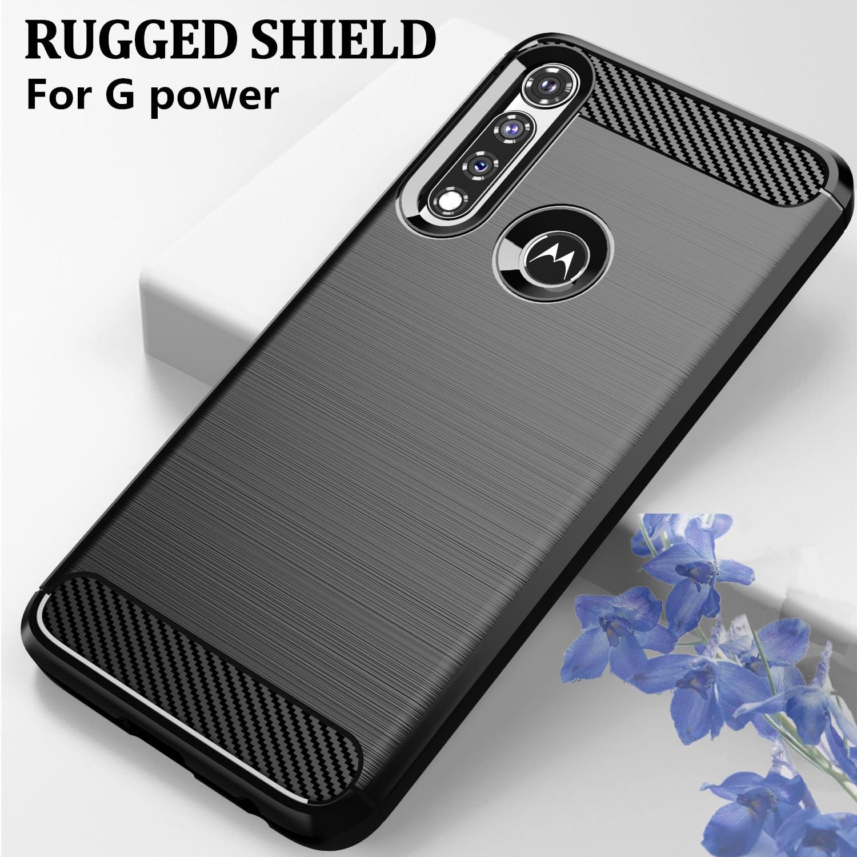 Funda para Moto G Power Phone Fundas Coque Rugged Soft TPU funda para Motorola funda ajustada de fibra de carbono antideslizante