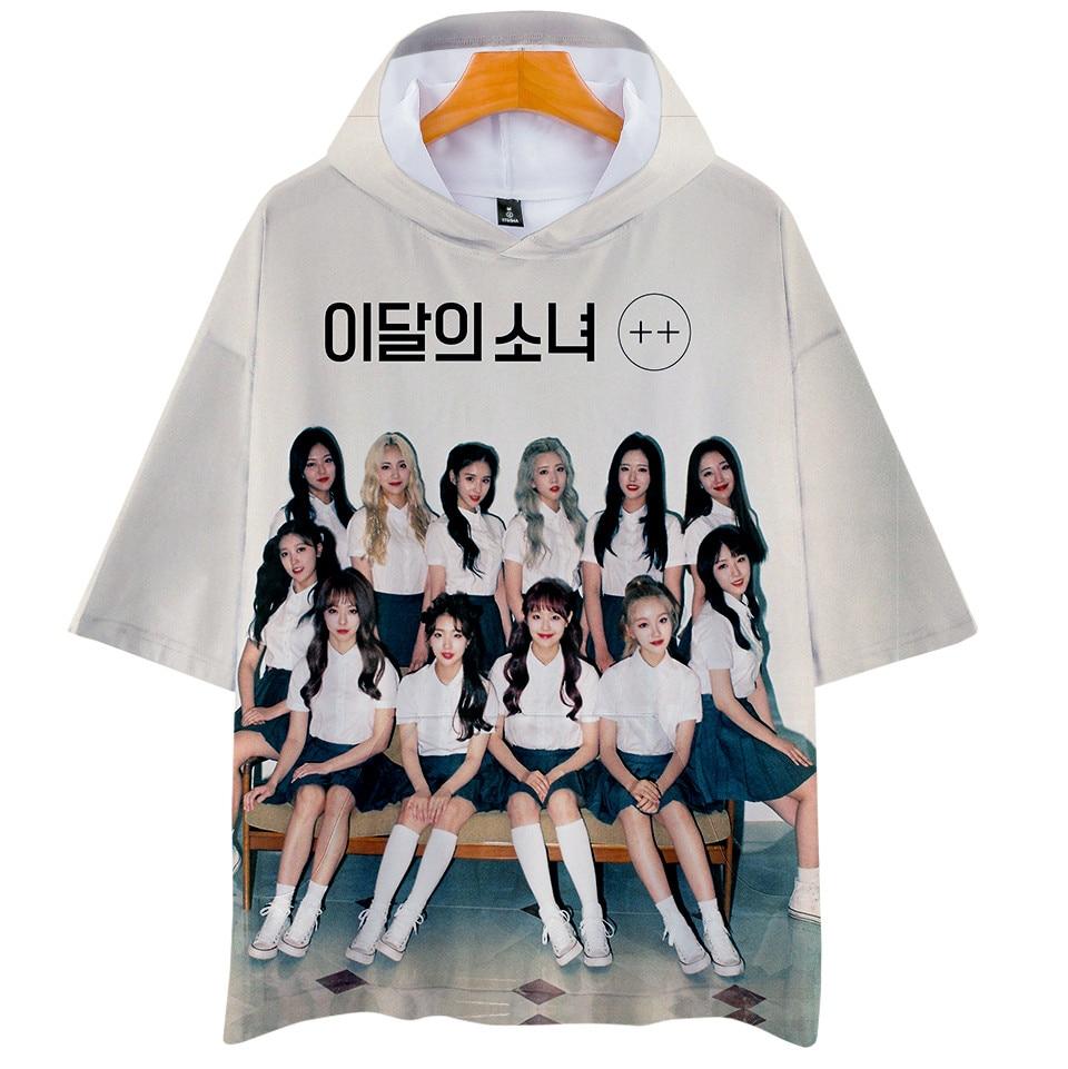Camiseta con capucha impresa en 3d de KPOP LOONA, Camiseta con estampado de miembro del equipo Loona, camiseta de talla grande con capucha de Hip Hop, camisetas, ropa de marca