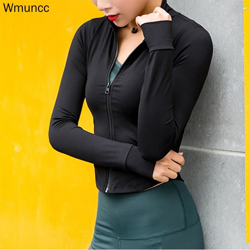 Wmuncc-سترة ركض نسائية بأكمام طويلة ، قميص يوجا مع سحاب ، ملابس رياضية للتدريب ، تجفيف سريع