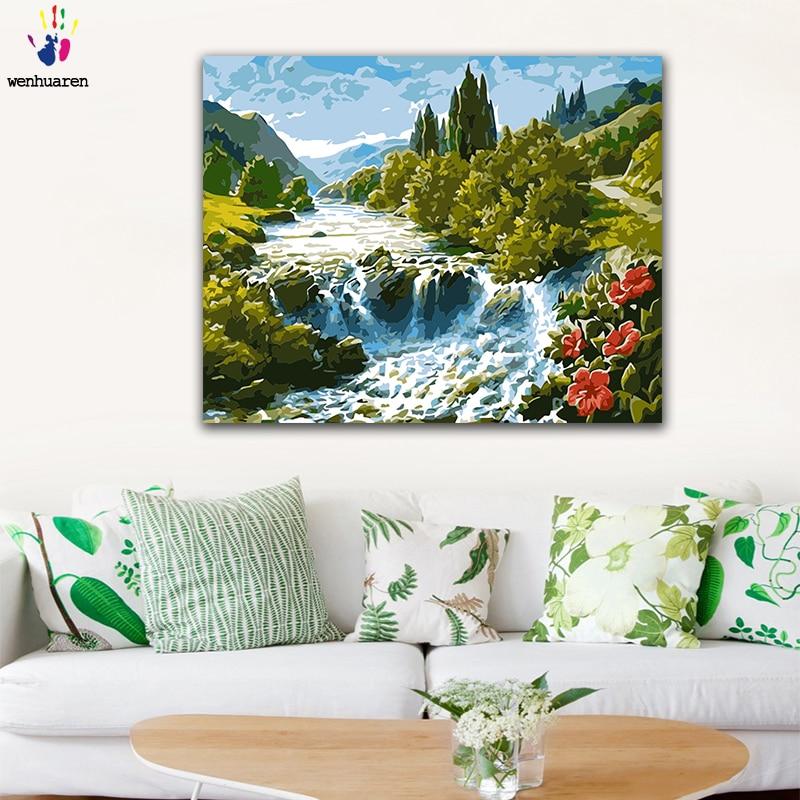 Imágenes de manualidades para colorear por números con colores montaña cascada paisaje cuadro dibujo pintura por números lienzo enmarcado en casa