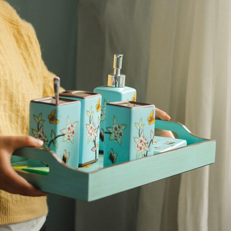 Conjunto de Acessórios do Banheiro Escova de Dentes Estilo Chinês Cerâmica Conjunto Dispensador Sabão Líquido Titular Tumbler Saboneteira 5 Pçs