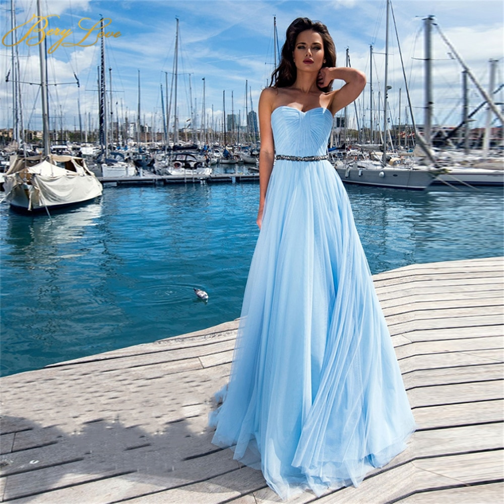 Berylove Long Prom Dress Tiered Tulle Party Gown Strapless Elegant Sweetheart Evening Dresses Sky Blue vestidos de promoción amazing 2020 new prom dresses ball gown tiered ruffled tulle purple unique evening dress strapless celebrity pageant gowns