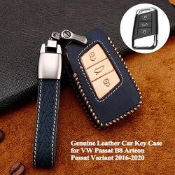 1pc couro genuíno caso chave do carro capa completa escudo acessórios para vw volkswagen passat b8 arteon passat variant 2016-2020