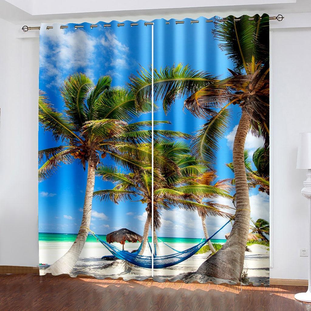 الصيف جوز الهند الحيوان شاطئ مشهد ثلاثية الأبعاد نمط الطباعة غرفة المعيشة ظلة مخصصة الستار دعوى غرفة نوم هوك الديكور