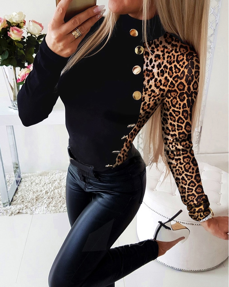 2021 Women Plus Size Long Sleeve V-Neck Shirt Female Black Leopard Print Button Design Blouse