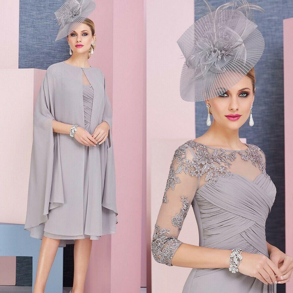 Gary Mother Of The Bridegroom Dress With Cape Chiffon 2 Pieces Lace Appliqued Shawl Wedding Ceremony