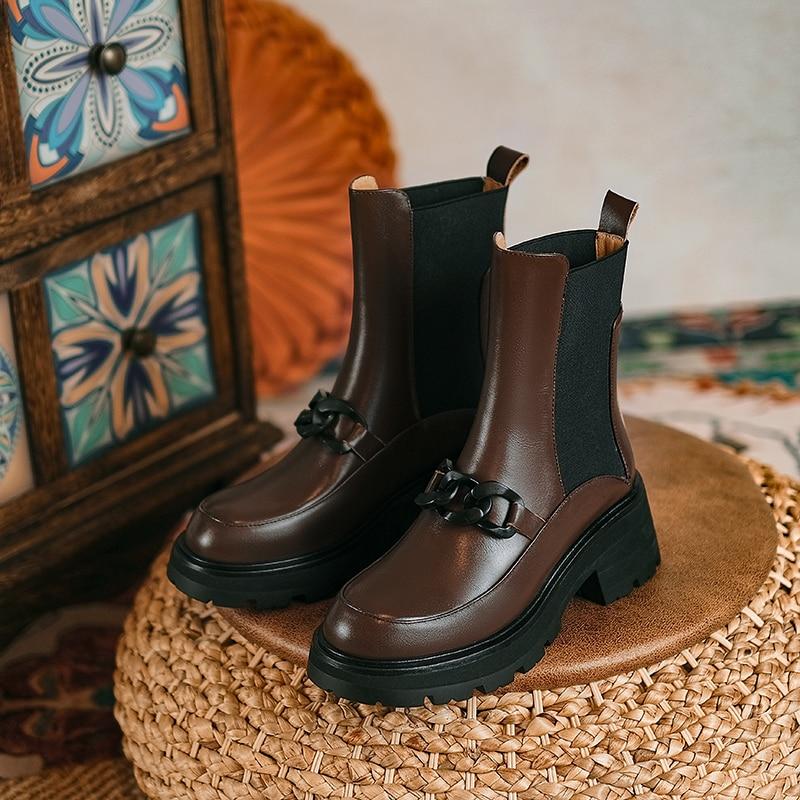 حار جلد طبيعي النساء الأحذية موضة سلسلة السحابة تشيلسي الأحذية جولة تو صندل بكعب مكتنز 2021 الشتاء الكاحل أحذية حريمي برقبة