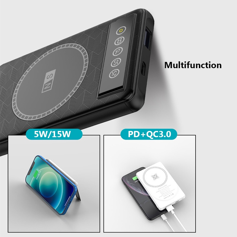 5000mAh Magnetic power bank For Magsafe 15W Wireless External Auxiliary battery For iphone12 12Pro 12proMax xiaomi Fast charging