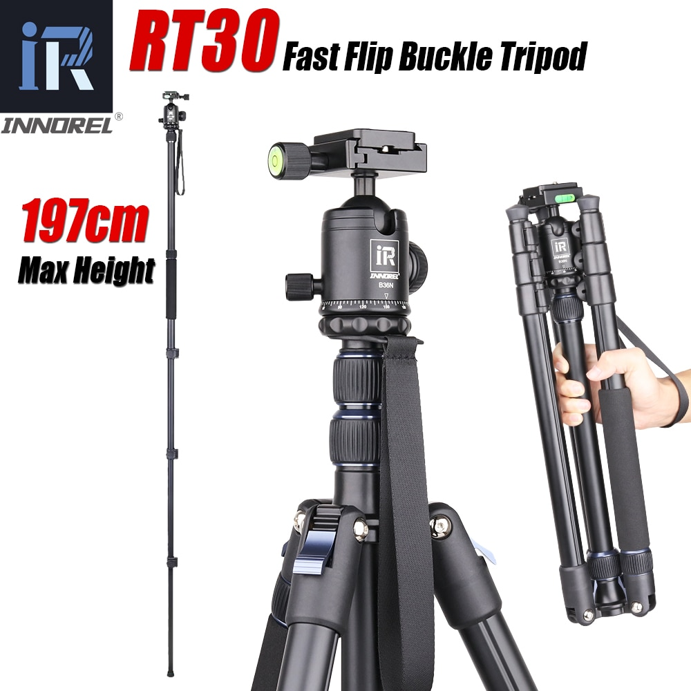 INNOREL RT30 Professional Aluminum Alloy Tripod Monopod Add Ball Head, Max Height 197cm/77.6in For Outdoor Camera Video Recorder innorel rt30 professional aluminum alloy tripod monopod add ball head max height 197cm 77 6in for outdoor camera video recorder