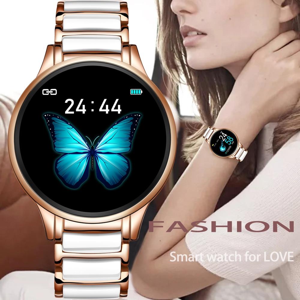 LIGE Luxury Smart Watch Women Waterproof Sports Fitness Tracker For Android ios Reloj inteligente Ceramic Strap smart watch Men