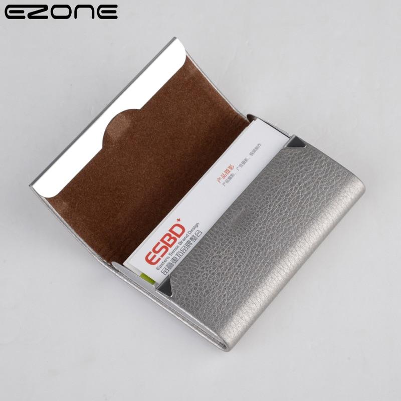 deli business name card box big capacity credit card holder memo pad EZONE Card Holder Business Card Storage Steel PU Leather Cardcase Big Capacity Business Style Name Card Box Stationery Material