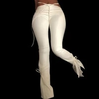 vibesootd white pu faux leather high waist flare leggings women pants trousers tight christmas sexy bandage fitness bottom