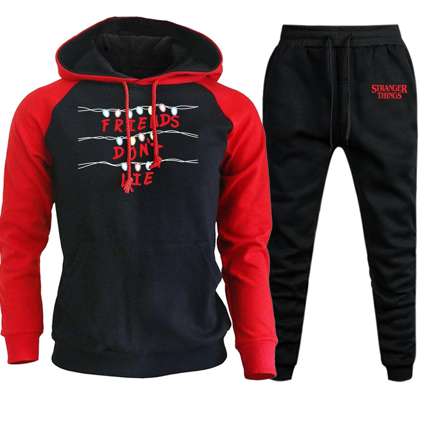 Autumn Winter 2019 Raglan Hoodies Mens Sweatshirts Stranger Things Vintage Print Suit Casual Hip Hop Pullover+Pants 2 Piece Set