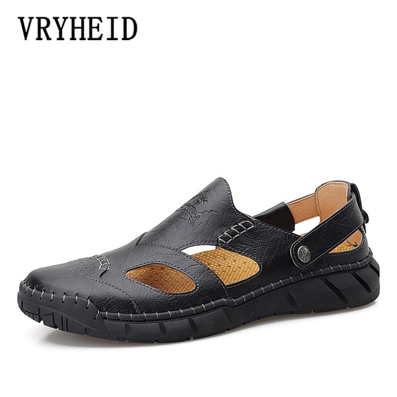 VRYHEID Summer New Genuine Leather Men Sandals Handmade Breathable Casual Men Flats Shoes Slip On Walking Sandals Big Size 38-50
