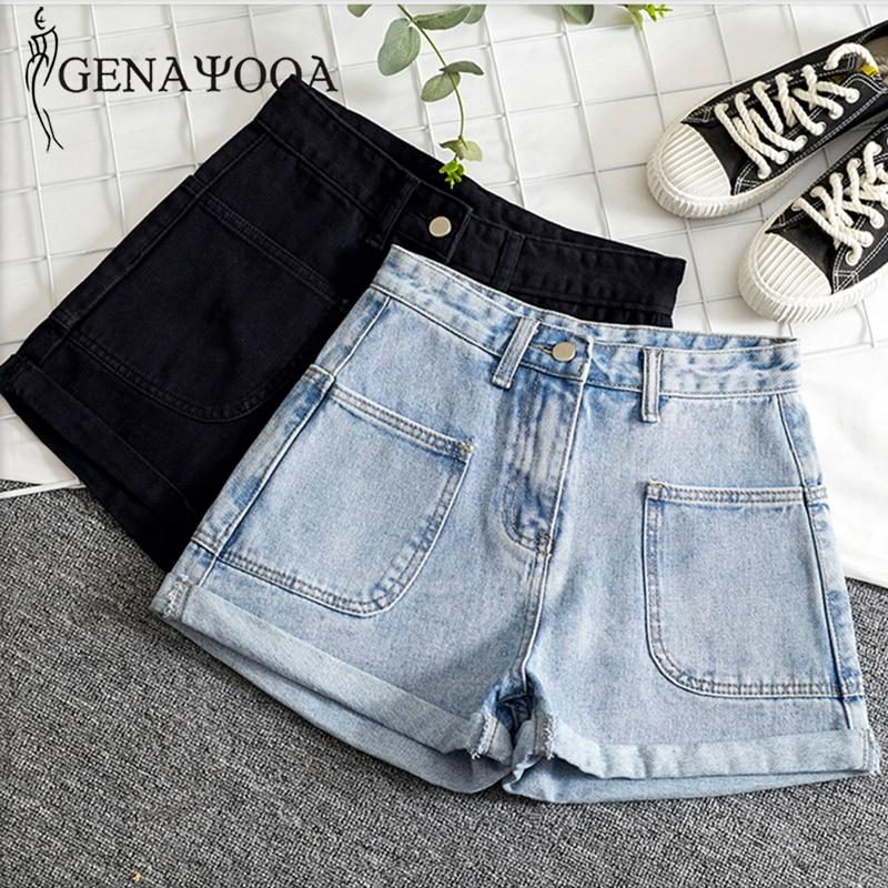 Genayooa High Waist Hot Ladies Shorts Women Summer Plus Size Women Jeans Shorts Casual Loose Denim Shorts Overall Womens 2020