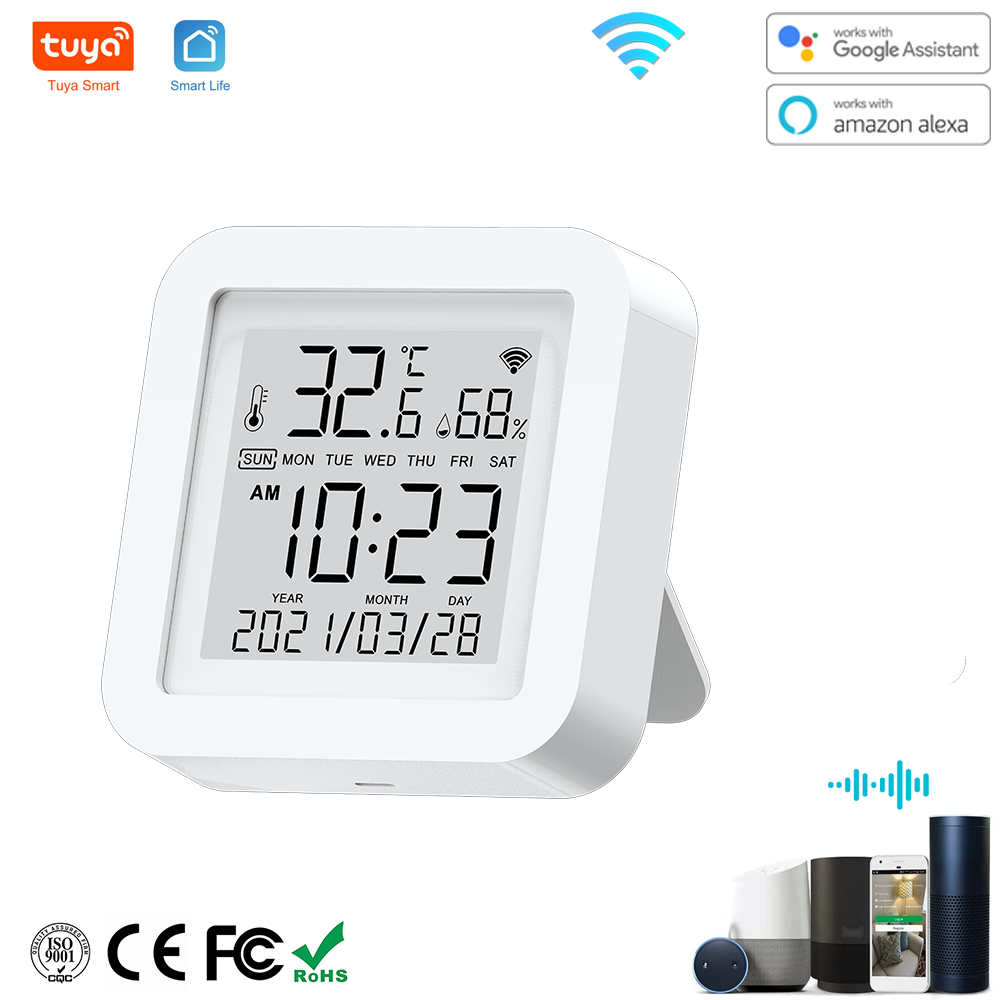 Tuya WIFI Temperature & Humidity Sensor for Smart Home var SmartLife Thermometer With Display Support Alexa Google Assistant
