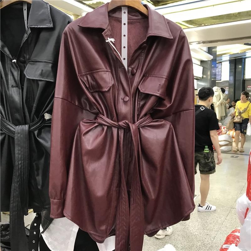 Куртка женская демисезонная из ПУ кожи, с отложным воротником и длинным рукавом