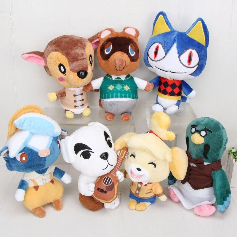 18-24cm animal que cruza o brinquedo de pelúcia k.k tom nook blathers celeste isabelle bunnie chuta presentes do brinquedo do luxuoso da folha para crianças