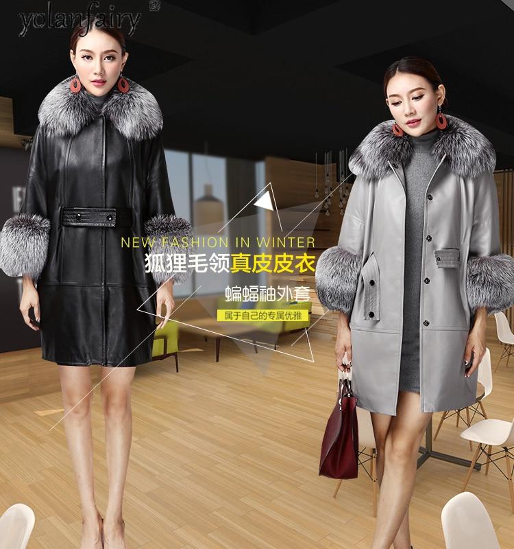 2020 Genuine Leather Jacket Women Sheepskin Coat Female Autumn Winter Coats and Jackets Fox Fur Collar Mujer Chaqueta Pph1570