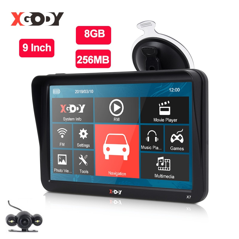 9 `` voiture camion GPS Navigation 256 Mo + 8 Go écran tactile Sat Nav Bluetooth en option gratuit carte de l'europe Navit