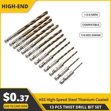 13 stücke Twist Bohrer Hand Tool set HSS High Speed Stahl Titan Beschichtete Bohrer Bit Set 1/4 Hex Schaft 1,5-6,5mm Elektrische Schraubendreher