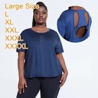 yoga shirt women gym loose shirt quick dry large plus size sports shirts hollowed back gym top womens 3xl 4xl xxxxl fitness shi