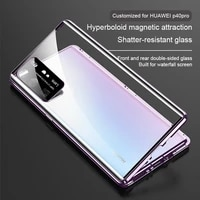 huawei p40pro mobile phone case protective cover magnetic suction double sided glass ultra thin transparent lens all inclusive a