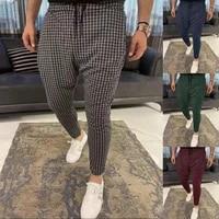 hot men plaid pants slim fit midwaist trousers classic vintage men business casual jogging pencil pants
