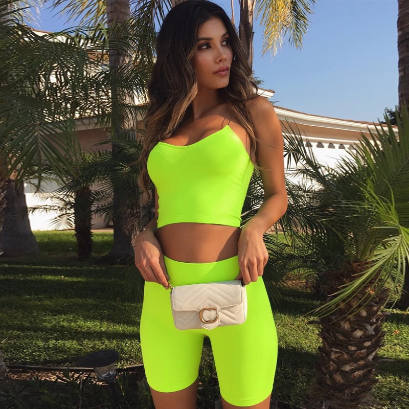 Women's 2 pieces Yoga Clothes Set Slim&Thin Body Shape Hip Lift Seamless Gym Summer Workout Camisole&Shorts Sports Fitness Suits