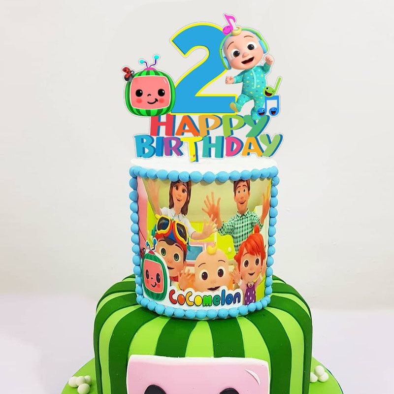 1set Cocomelon Birthday Party Decoration Kids Cupcake Cake Topper For Girls Happy Birthday Party Bab