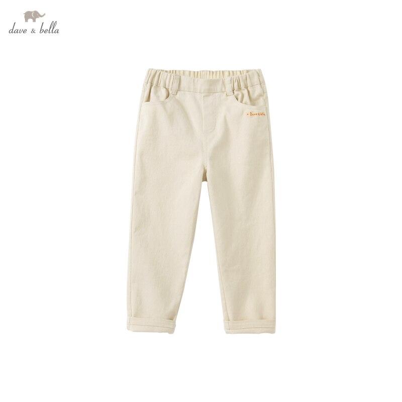 DKD18370-2 ديف بيلا الخريف 5Y-13Y أطفال بنات موضة الصلبة جيوب السراويل الأطفال بوتيك السراويل كامل طول غير رسمية