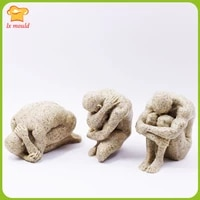 carved human candle silicone mold embracing pensive man silicone mould soap plaster resin decoration