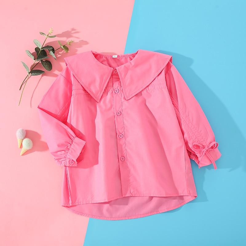 Рубашки с длинным рукавом для девочек, весна-осень 2021, хлопковые рубашки для малышей, детская одежда, модные детские однотонные Топы